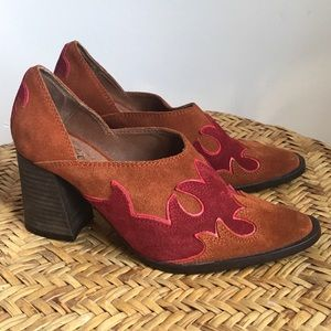 Free People Leather Booties 37 Brown Red